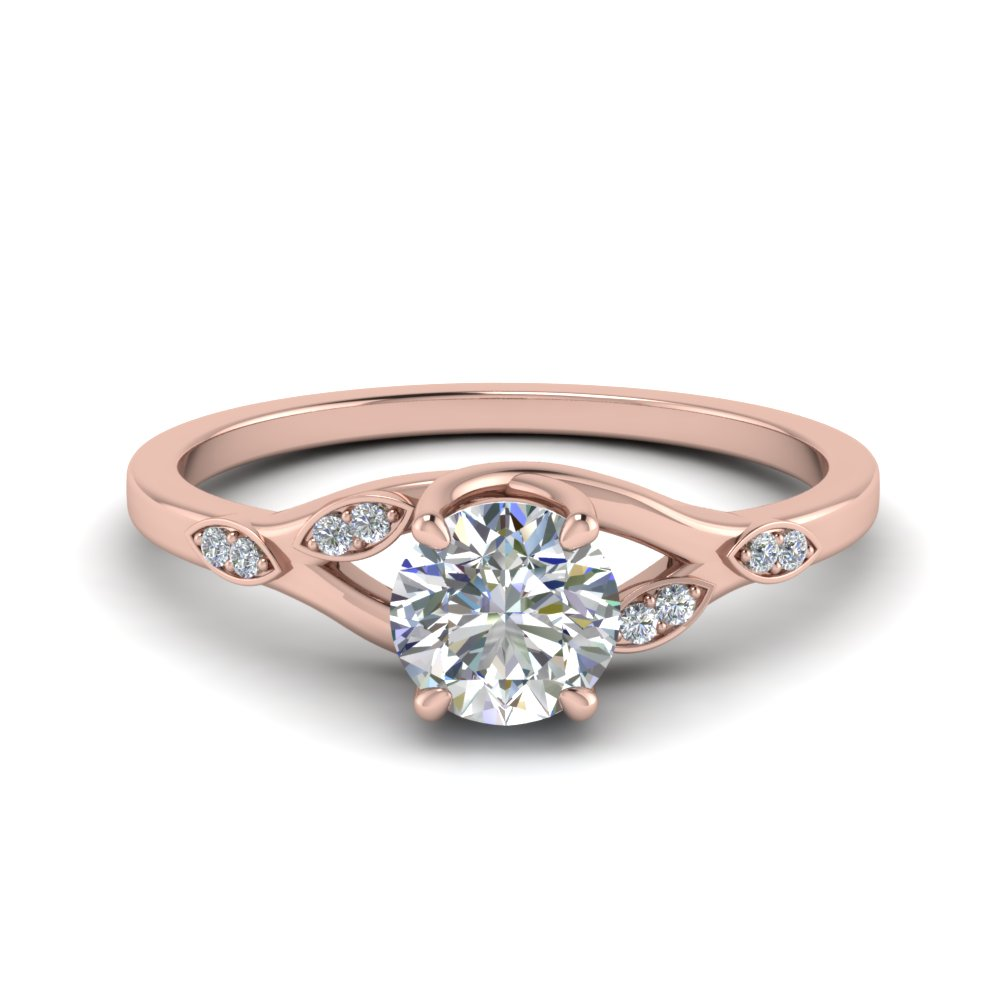 Nature Inspired  Diamond Engagement Ring In 14K Rose Gold