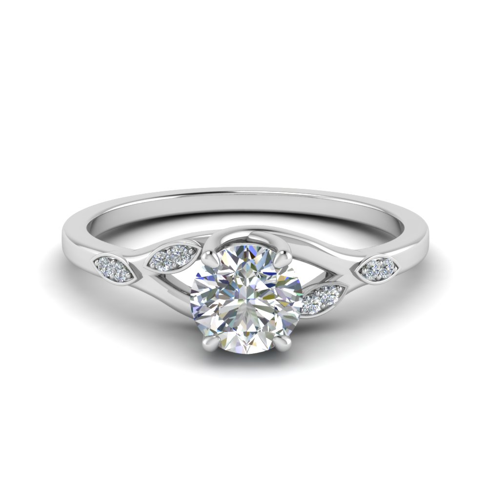 nature inspired diamond engagement ring in FD8603ROR NL WG
