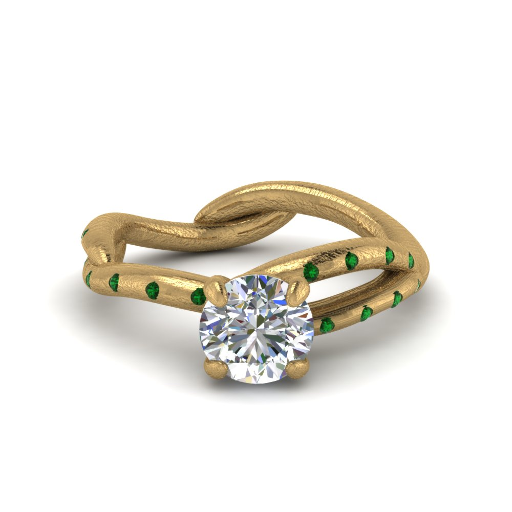 tree branch diamond engagement ring with emerald in FD8709RORGEMGR NL YG
