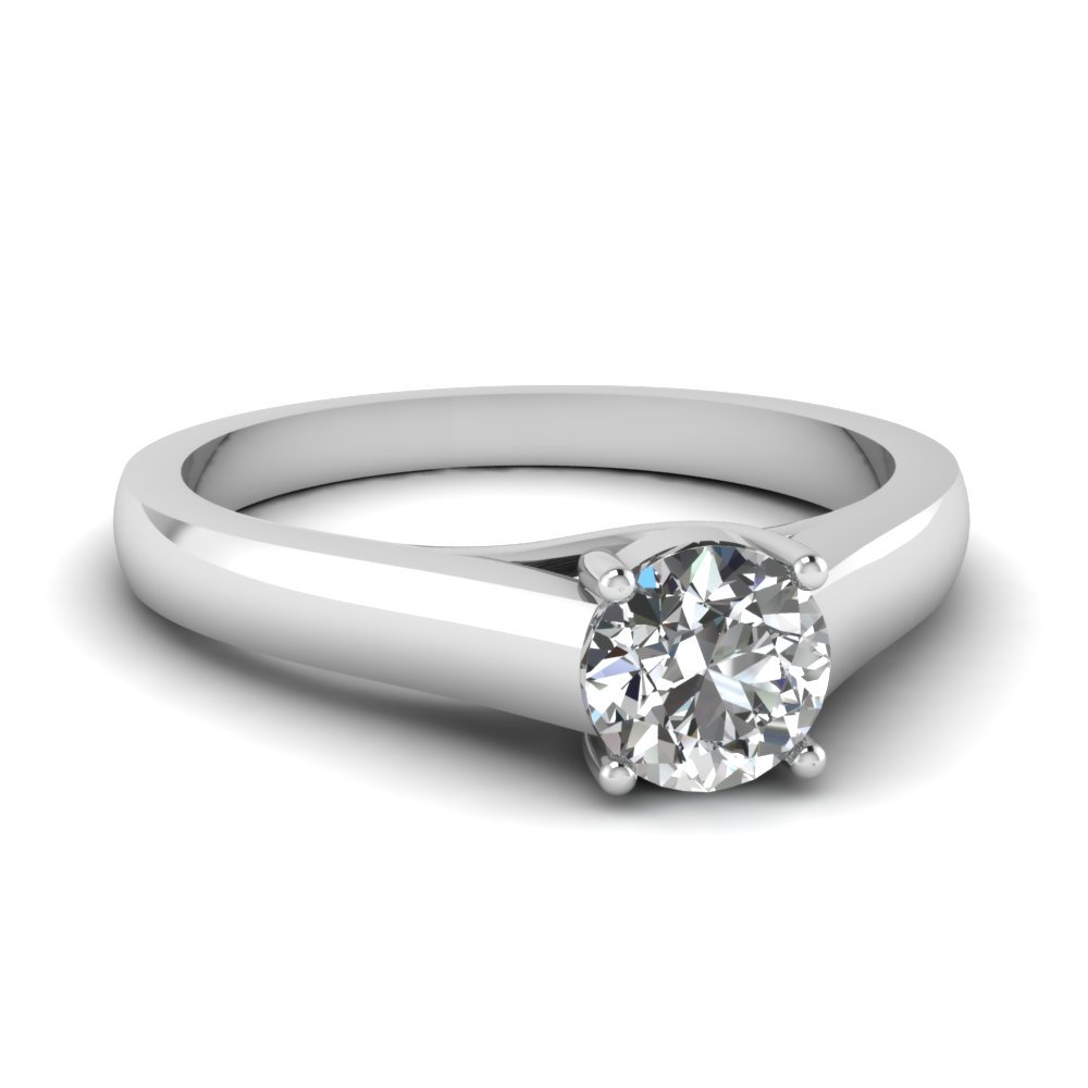 .75 carat round cut diamond gold solitaire engagement ring in 14K white gold FDENS1413ROR NL WG