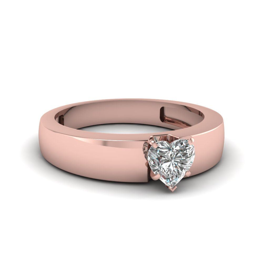 0.75 Ct. Heart Shaped Wide Solitaire Engagement Ring In 18K Rose ...