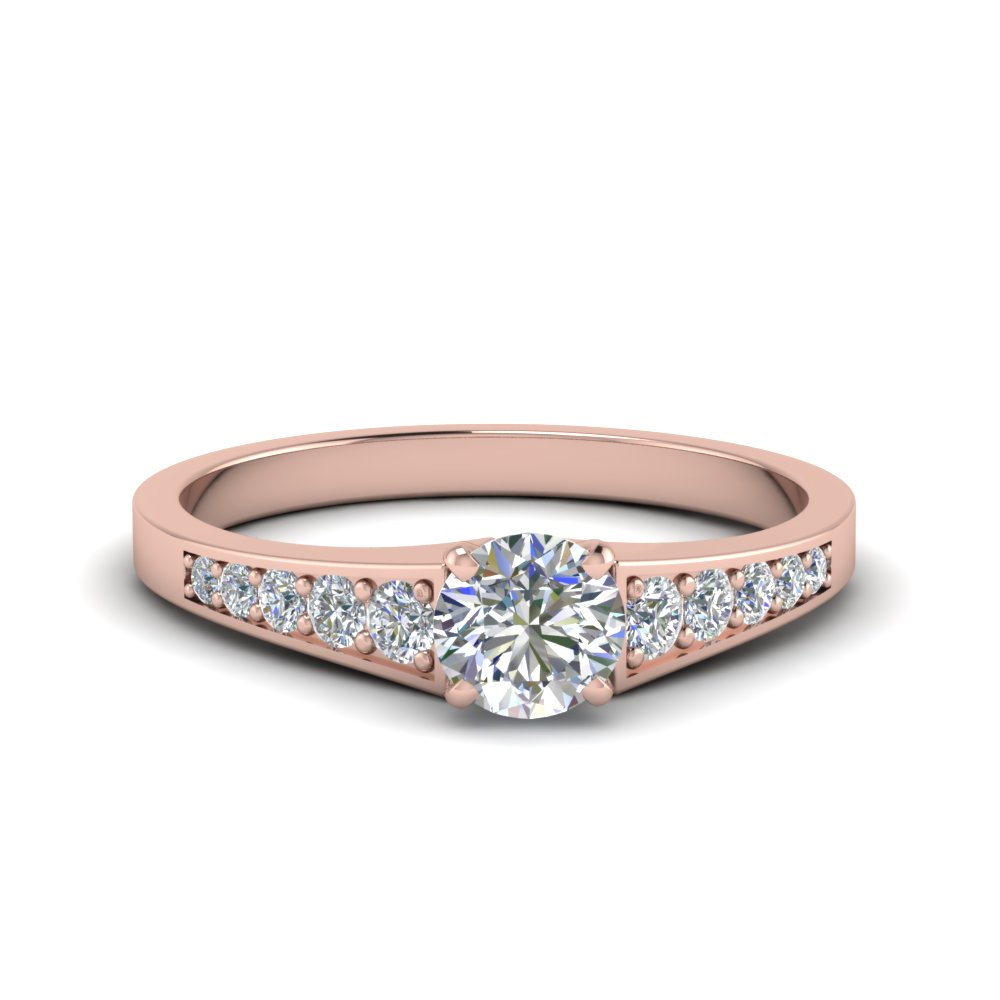 0.75 ct. round cut pave set diamond engagement ring in FD8048ROR NL RG