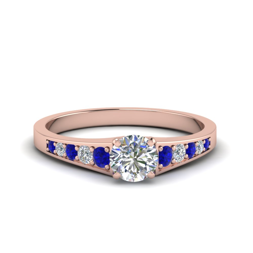 0.75 ct. round cut pave set diamond engagement ring with sapphire in FD8048RORGSABL NL RG