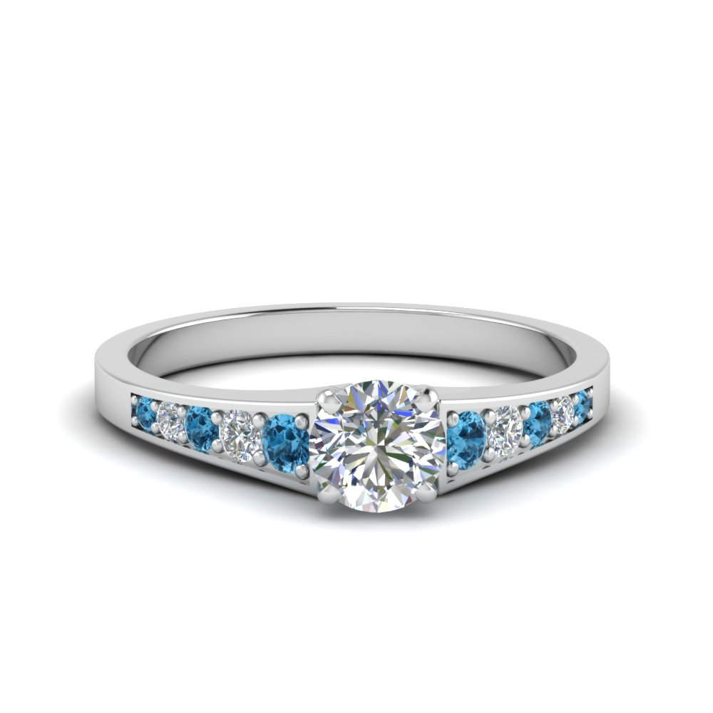 0.75 ct. round cut pave set lab diamond engagement ring with blue topaz in FD8048RORGICBLTO NL WG