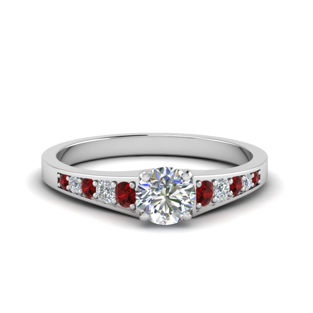 0.75 ct. round cut pave set diamond engagement ring with ruby in FD8048RORGRUDR NL WG