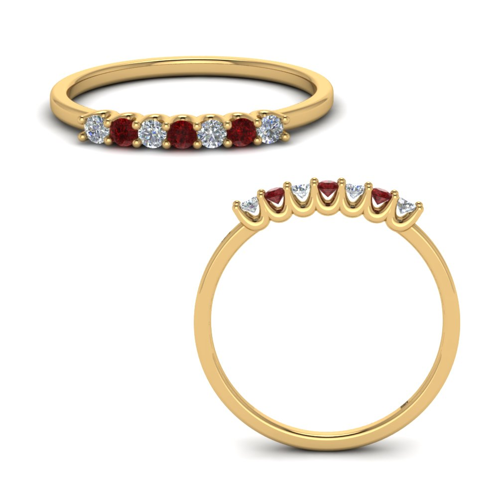 Ruby Petite Seven Stone Band