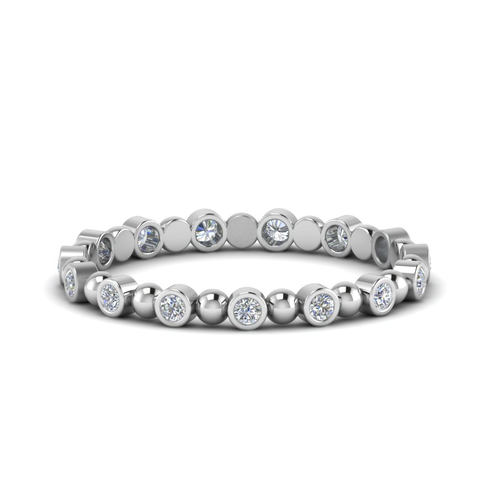 0.25 Ct. Diamond Bezel Bead Wedding Band