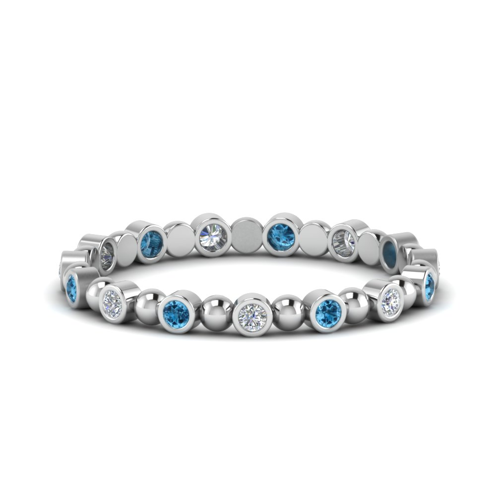 Blue Topaz Platinum Bezel Set Band