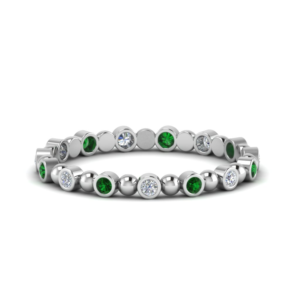 Bead Emerald Bezel Set Wedding Band