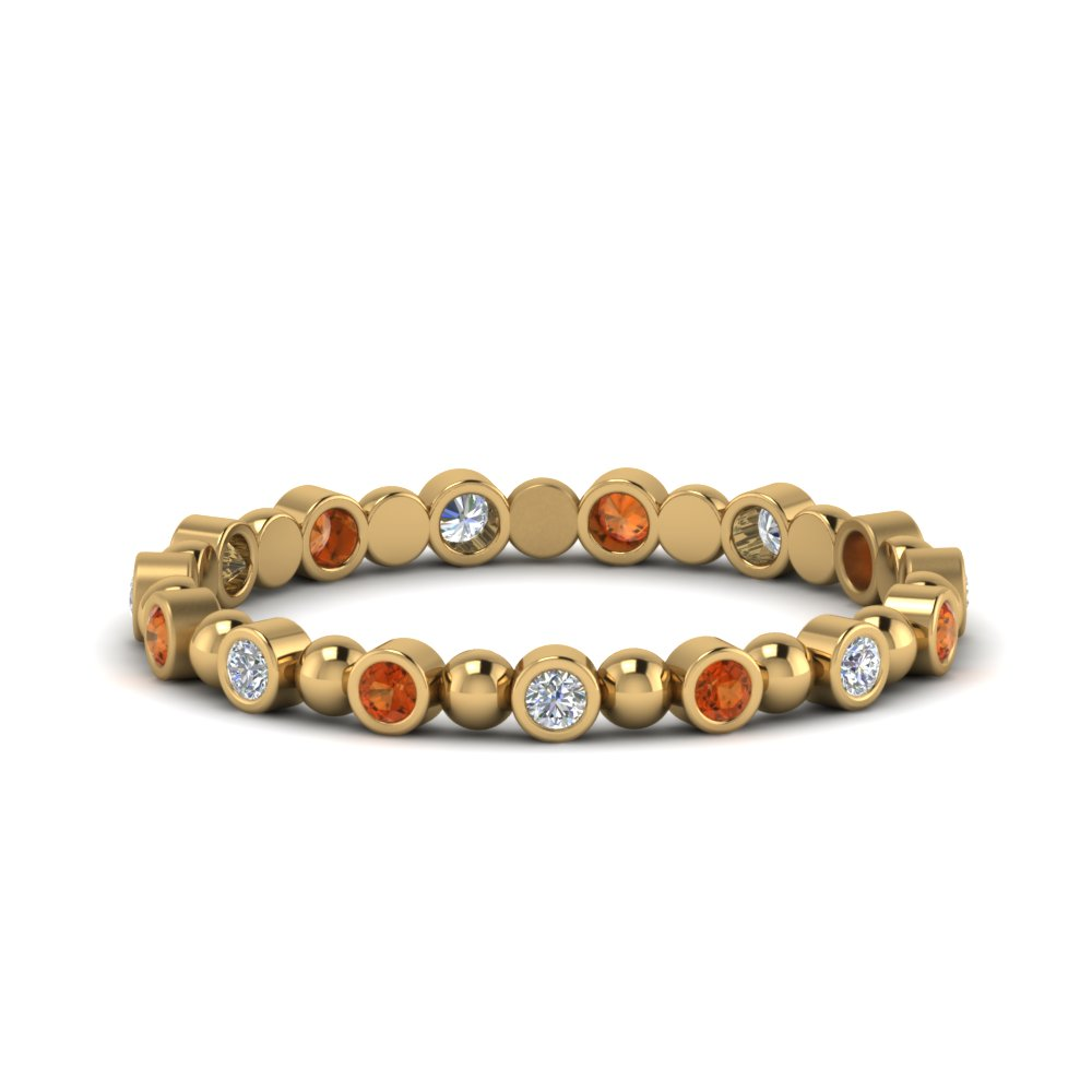 Orange Sapphire 14K Gold Band