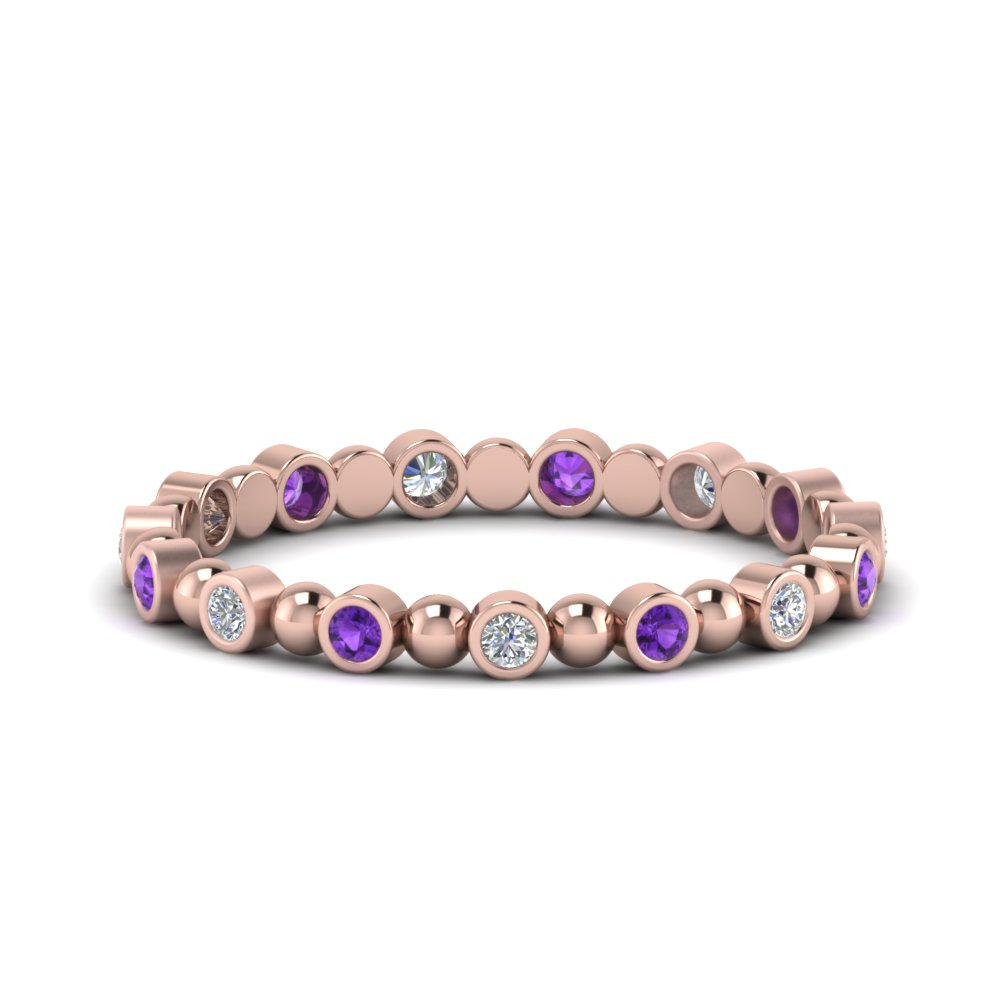 Bead Bezel Set Purple Topaz Band