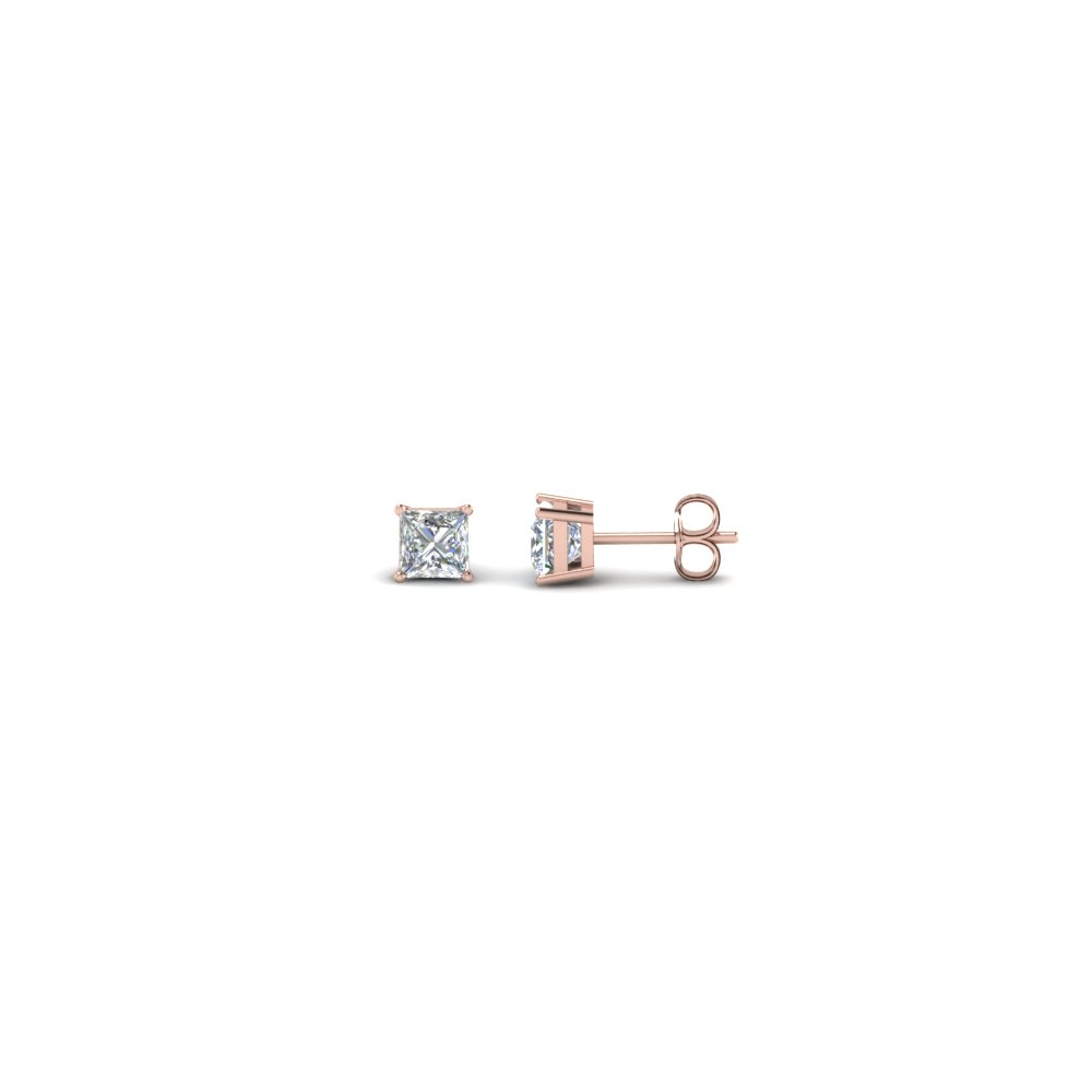 0.25 carat princess cut diamond stud earring in 14K rose gold FDEAR4PR0.12CT NL RG