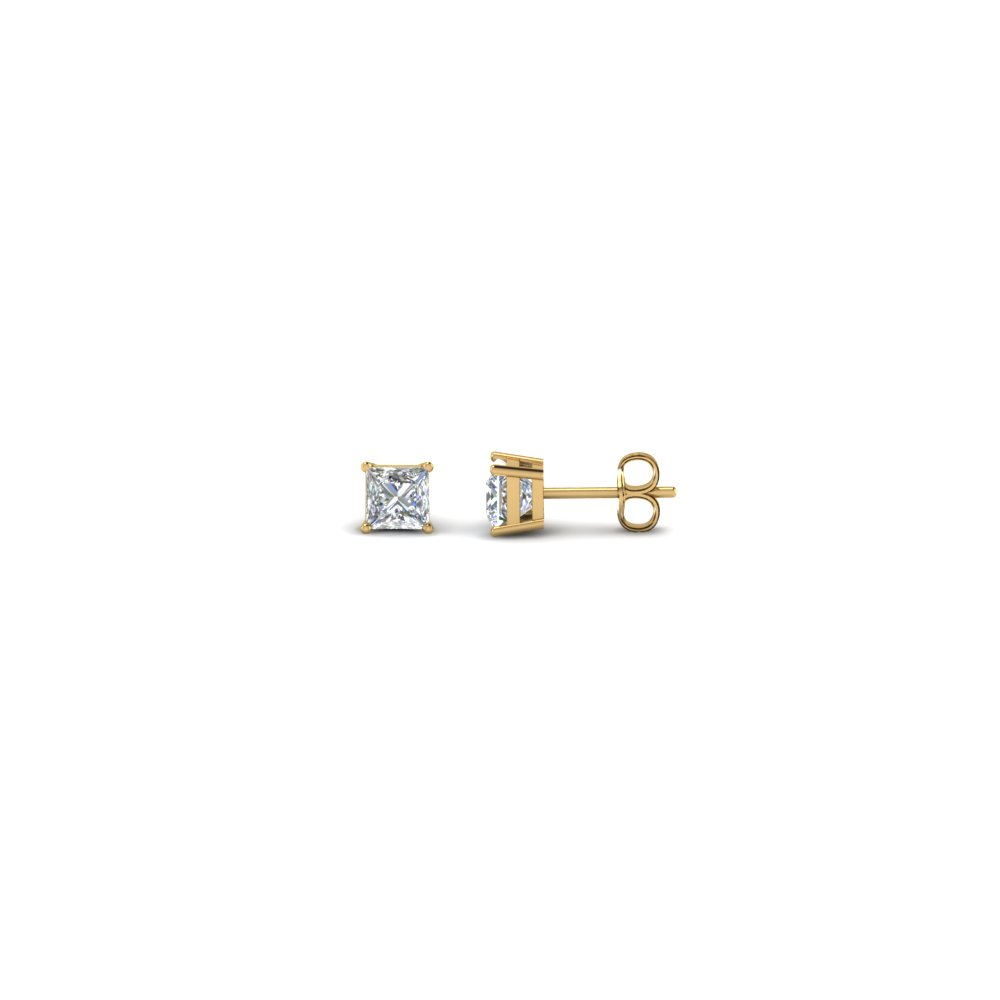 0.25 carat princess cut diamond stud earring in 14K yellow gold FDEAR4PR0.12CT NL YG