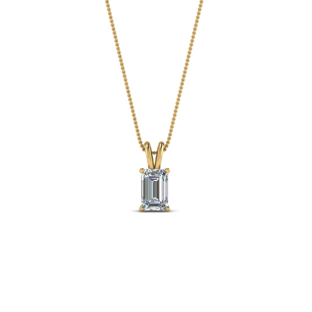 0.25 ct. emerald cut diamond solitaire pendant in FDPD8469EM0.25CTANGLE2 NL YG