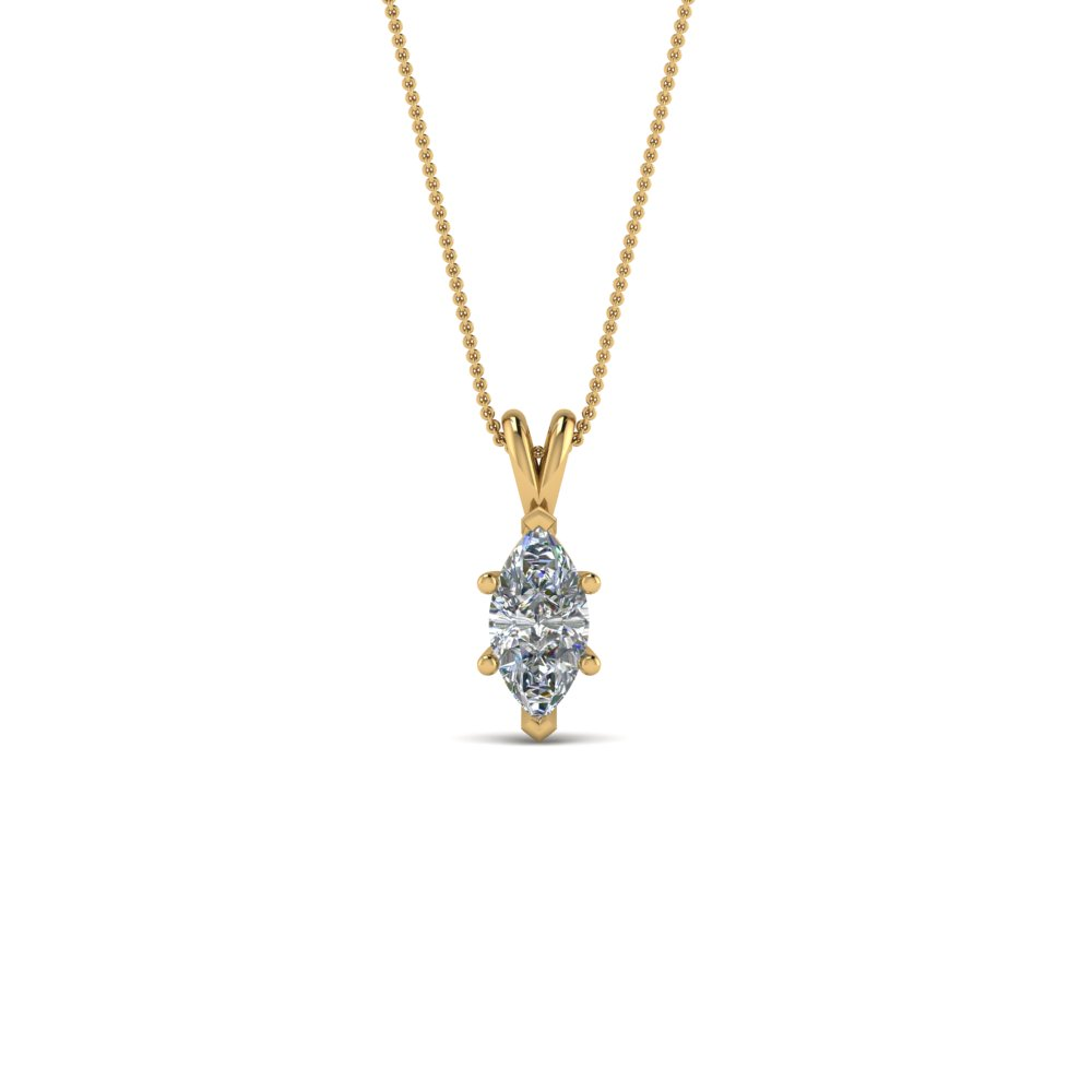 0.25 ct marquise diamond solitaire pendant in 14K yellow gold FDPD8469MQ0.25CTANGLE2 NL YG
