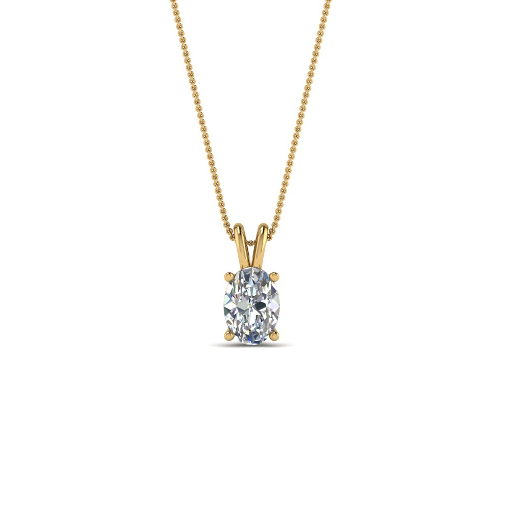 0.25 ct. oval diamond solitaire pendant in 14K yellow gold FDPD8469OV 0.25CTANGLE2 NL YG