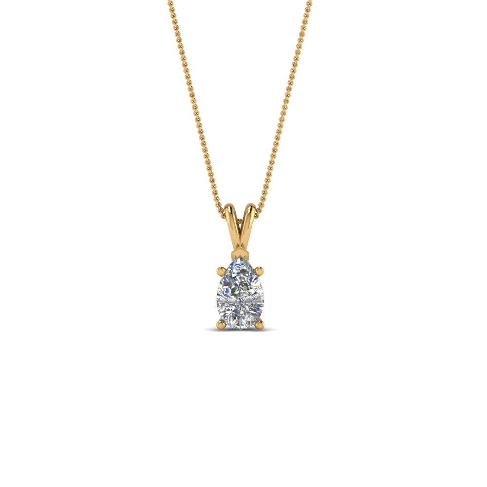 Diamond Pear Solitaire Pendants