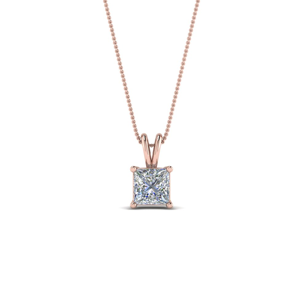 0.25 ct. diamond princess cut pendant in 14K rose gold FDPD8469PR 0.25CTANGLE2 NL RG
