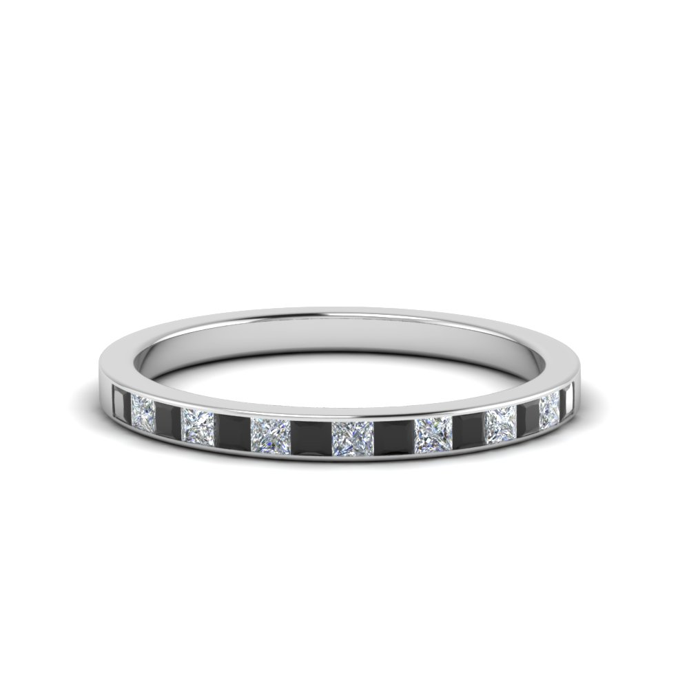 0.25 ct. princess channel wedding band with black diamond in FD8382 0.25CTBGBLACK NL WG