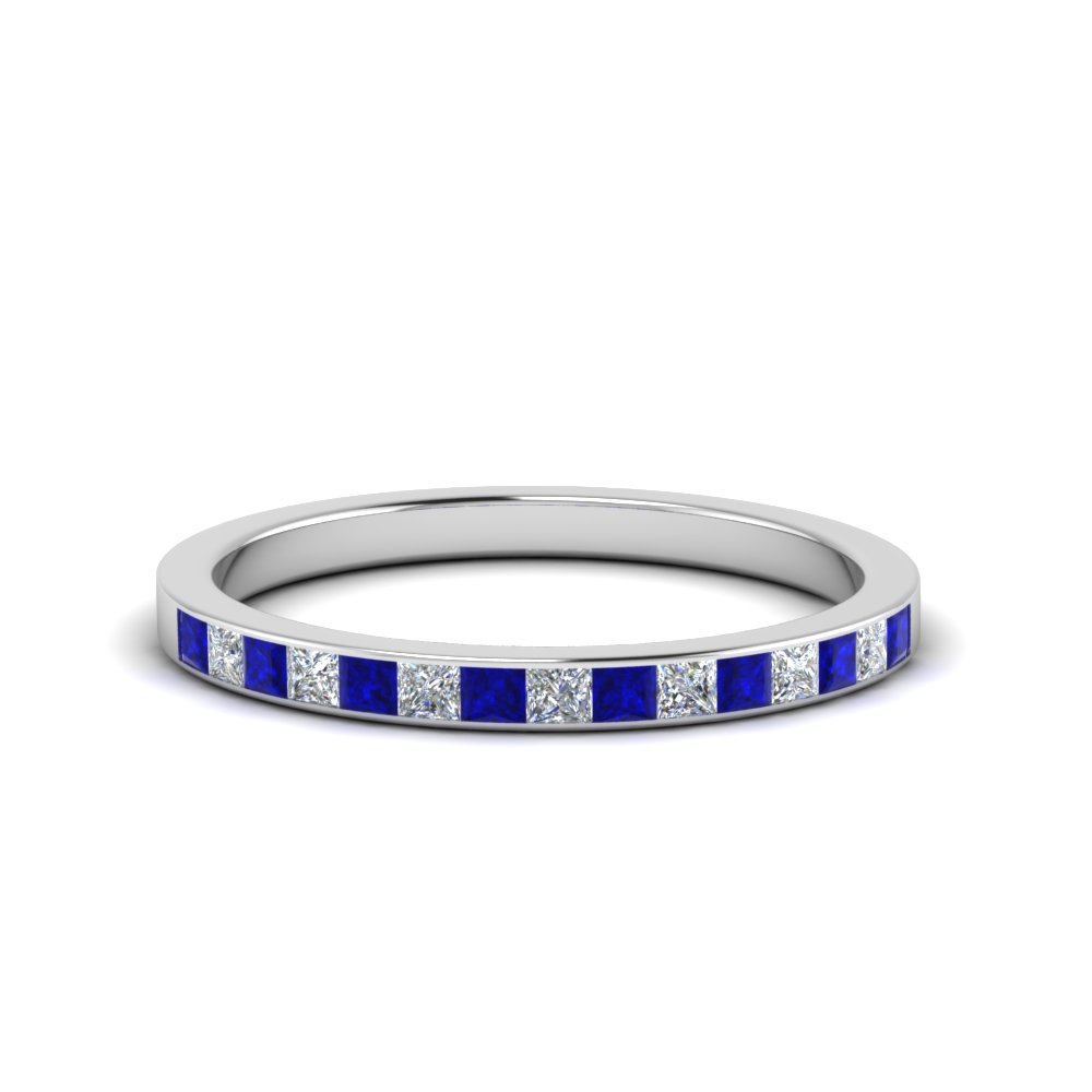0.25 ct. princess diamond channel wedding band with blue sapphire in FD8382 0.25CTBGSABL NL WG