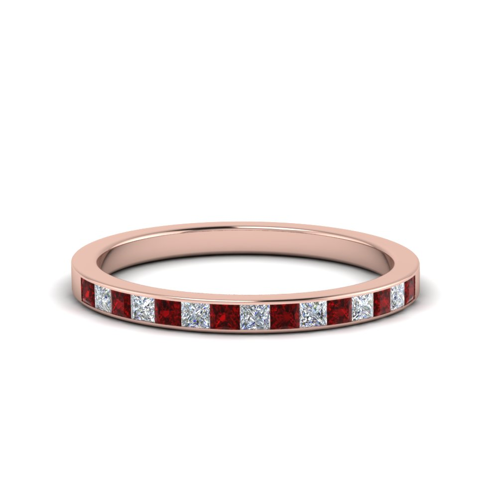 0.25 Ct. Rose Gold Ruby Band