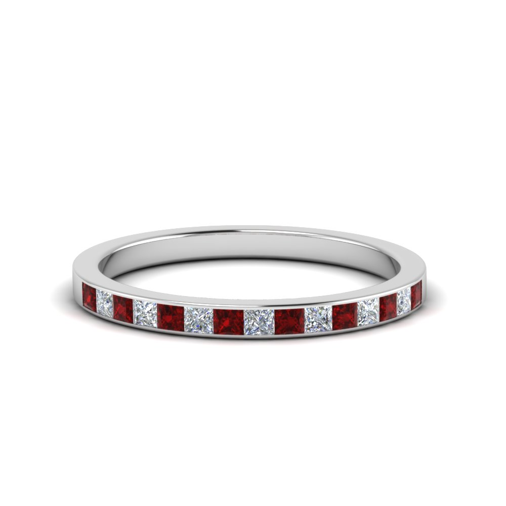 0.25 ct. princess diamond channel wedding band with ruby in FD8382 0.25CTBGRUDR NL WG