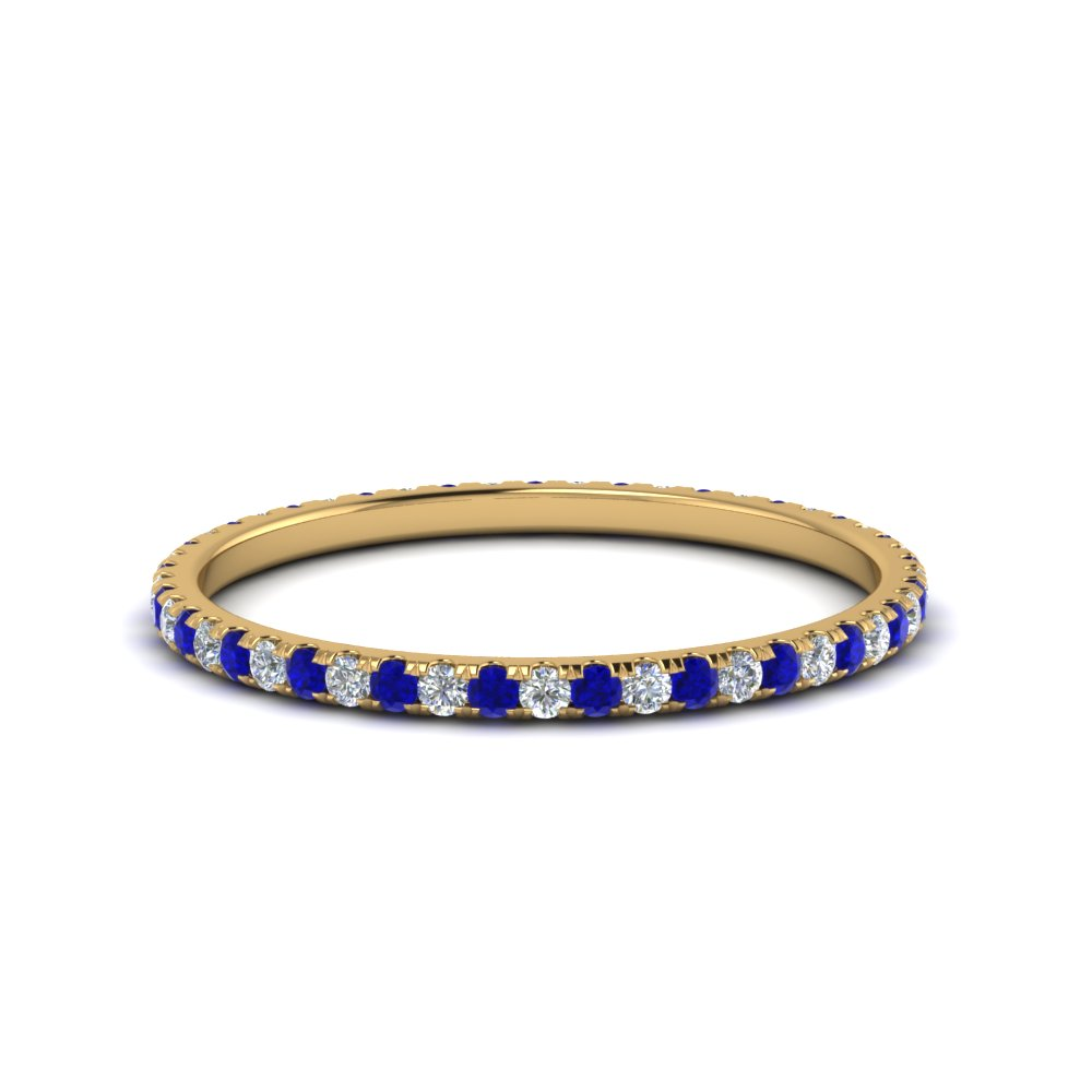 0.25 ct. round diamond eternity band with sapphire in FDEWB8371 0.25CTBGSABL NL YG