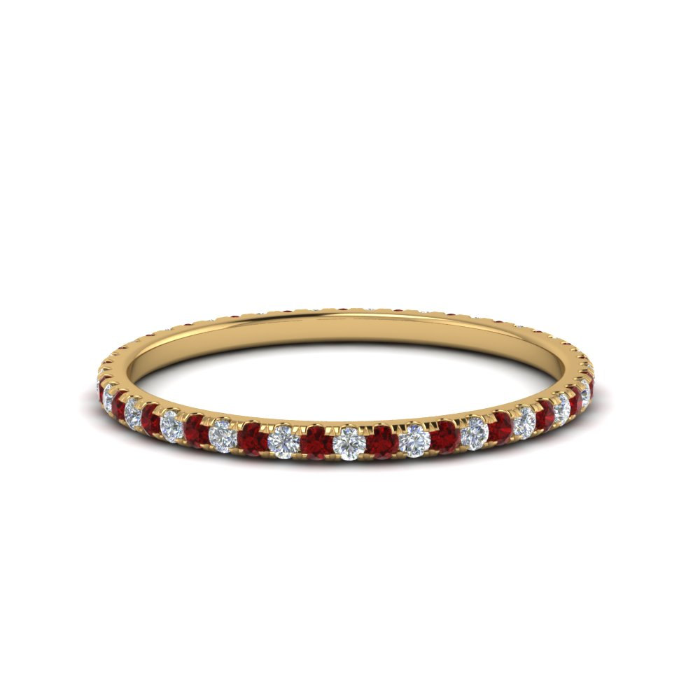 0.25 ct. round diamond eternity band with ruby in FDEWB8371 0.25CTBGRUDR NL YG