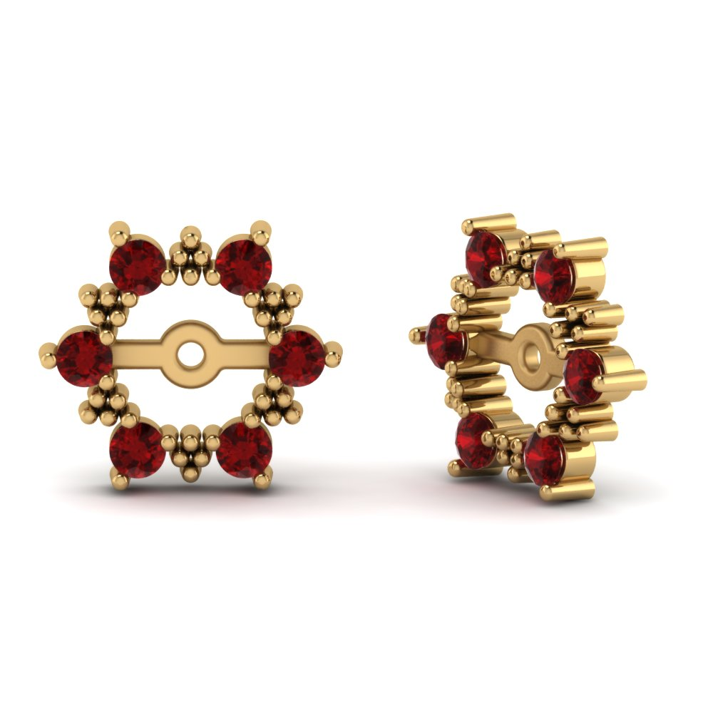0 25 Ct Vintage Halo Ruby Earring Jackets For Studs In 14k Yellow Gold