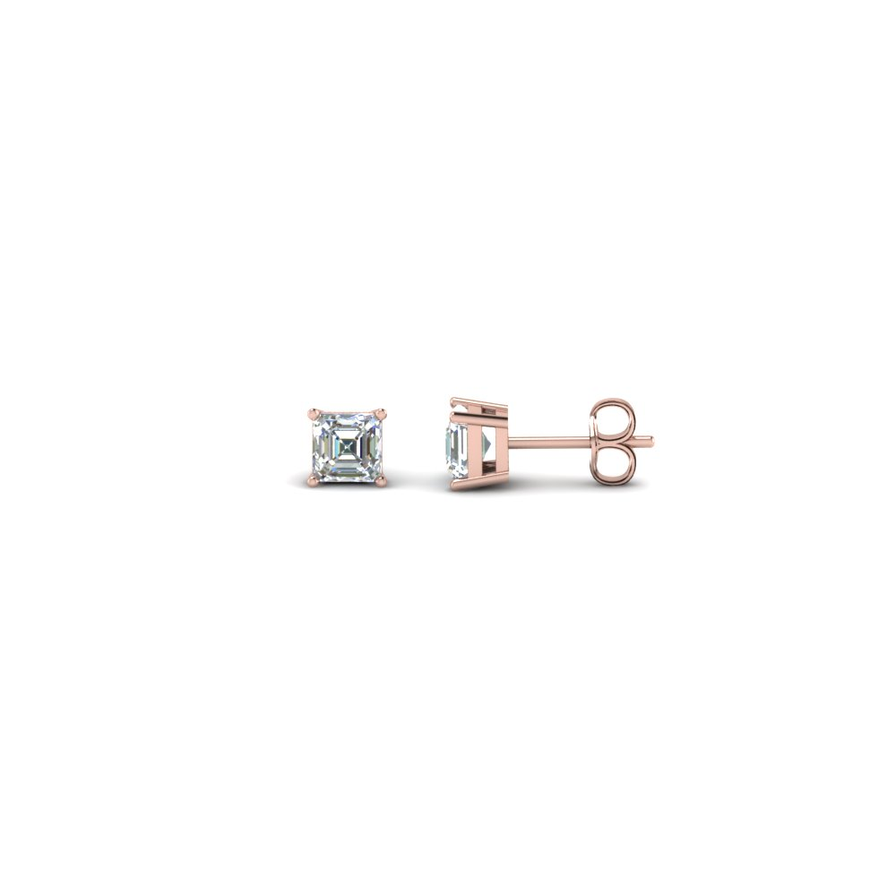 0.30 carat asscher cut diamond earring in 14K rose gold FDEAR4AS0.165CT NL RG