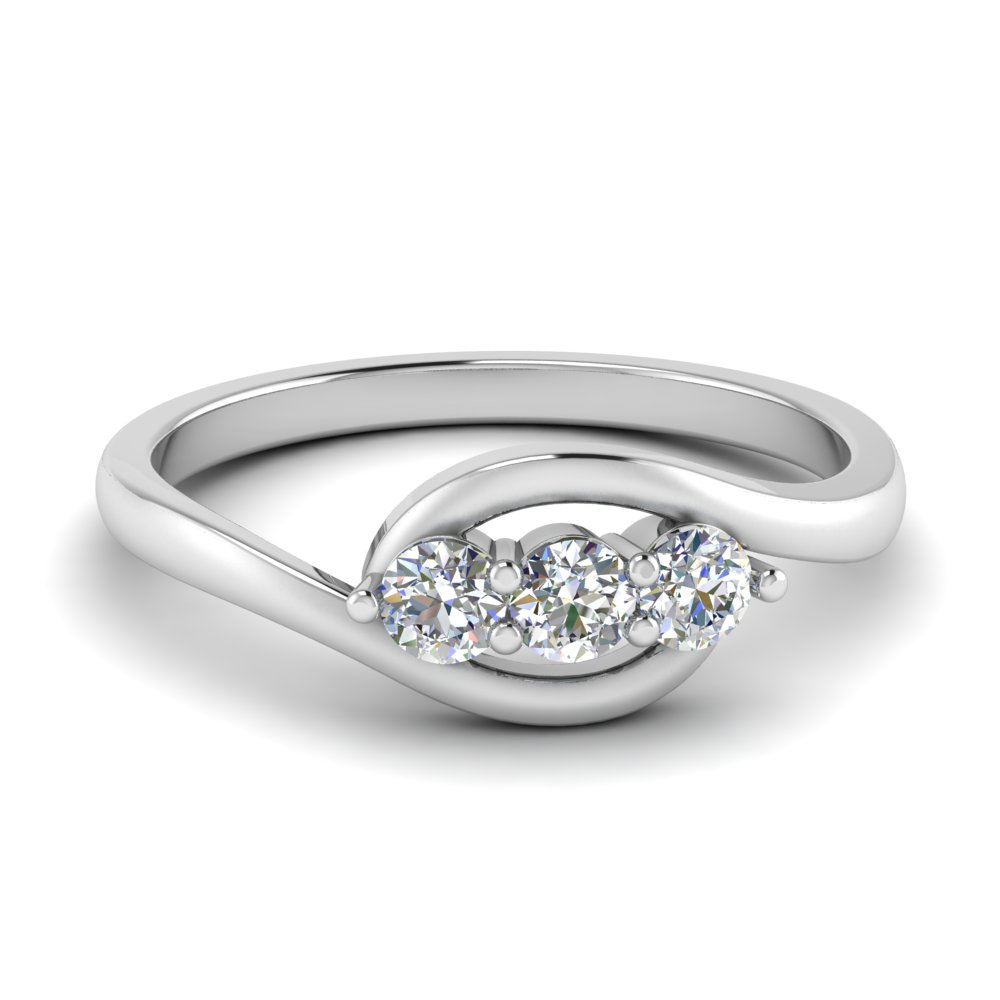 0.30 ct. crossover diamond 3 stone ring in FD123446ROR NL WG