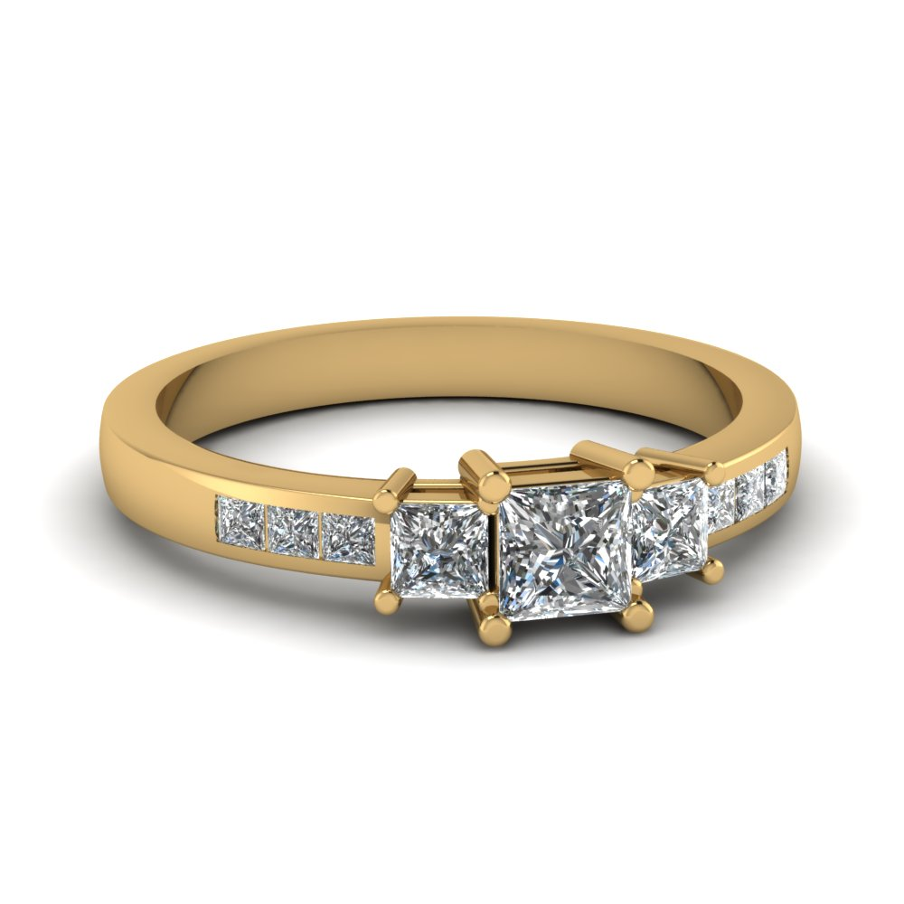 0.40 ct. princess cut diamond accents 3 stone preset engagement ring in 14K yellow gold FD1135PRR NL YG