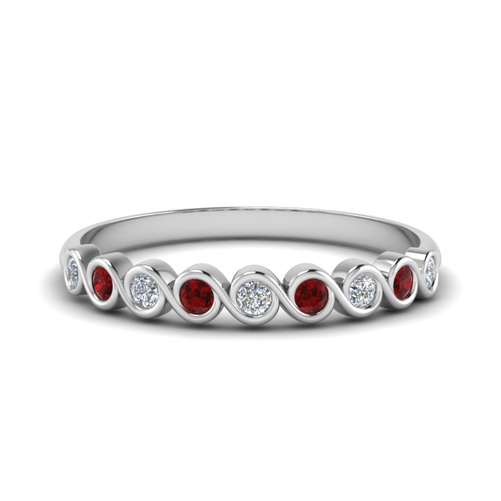0.40 ct. thin bezel set round diamond anniversary band with ruby in 18K white gold FD123594RO(2.25MM)GRUDR NL WG