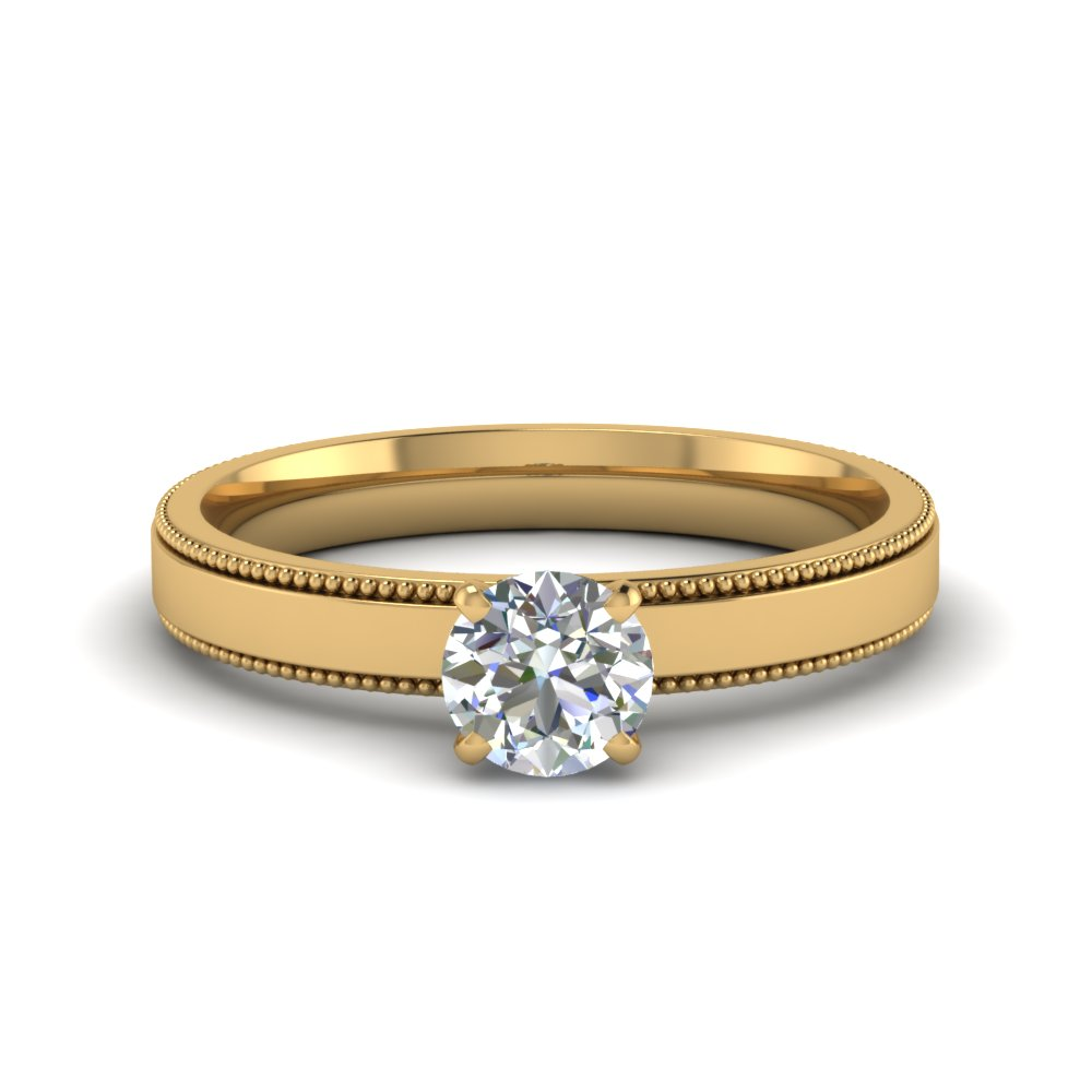 0.5 Carat Diamond Milgrain Solitaire Ring