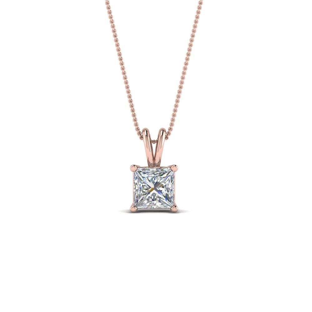 0.5 Ct. Diamond Princess Cut Solitaire Necklace In 14K Rose Gold