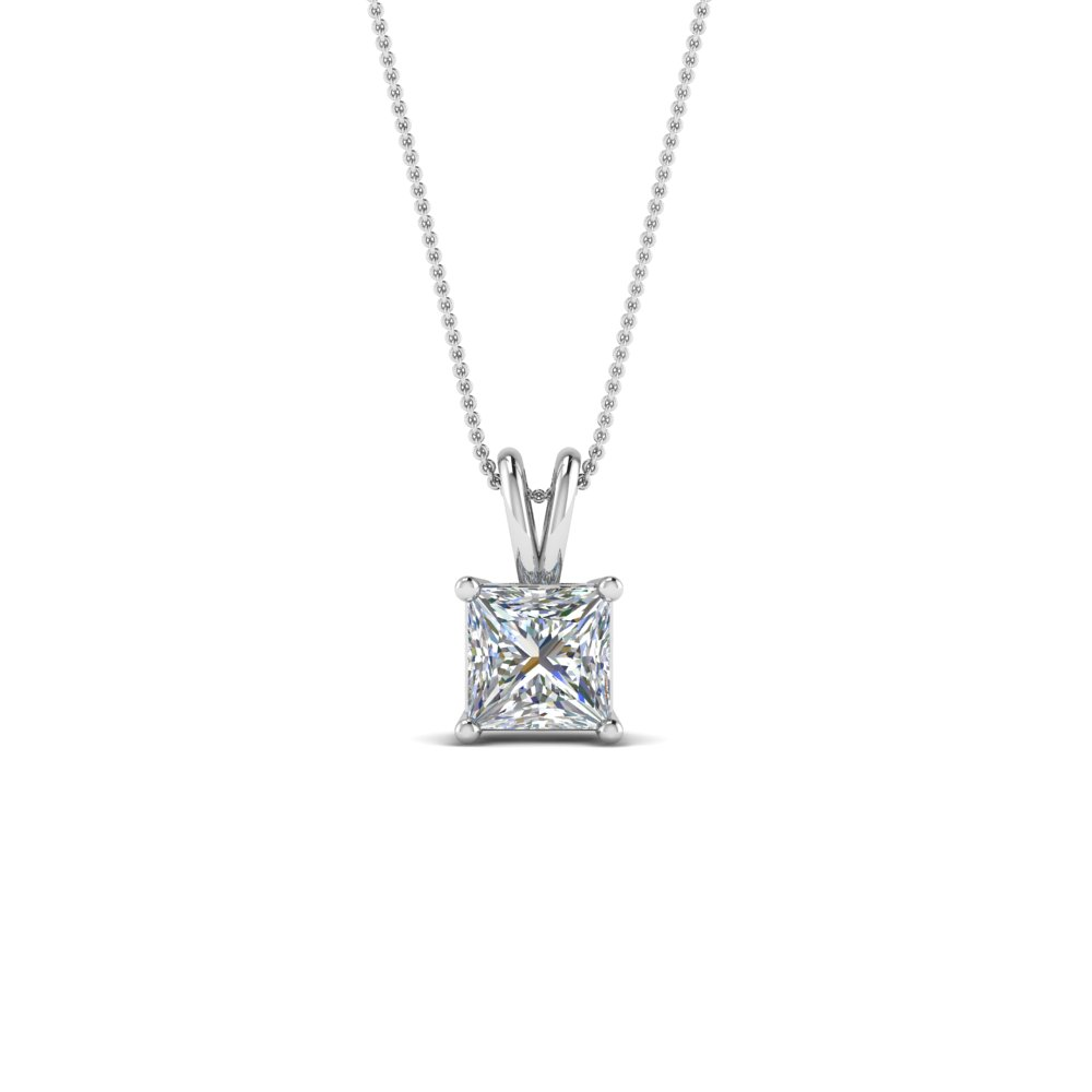 0.5 ct. diamond princess cut solitaire necklace in 14K white gold FDPD8469PR 0.50CTANGLE2 NL WG
