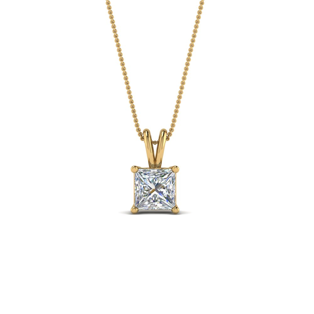 0.5 ct. diamond princess cut solitaire necklace in 14K yellow gold FDPD8469PR 0.50CTANGLE2 NL YG