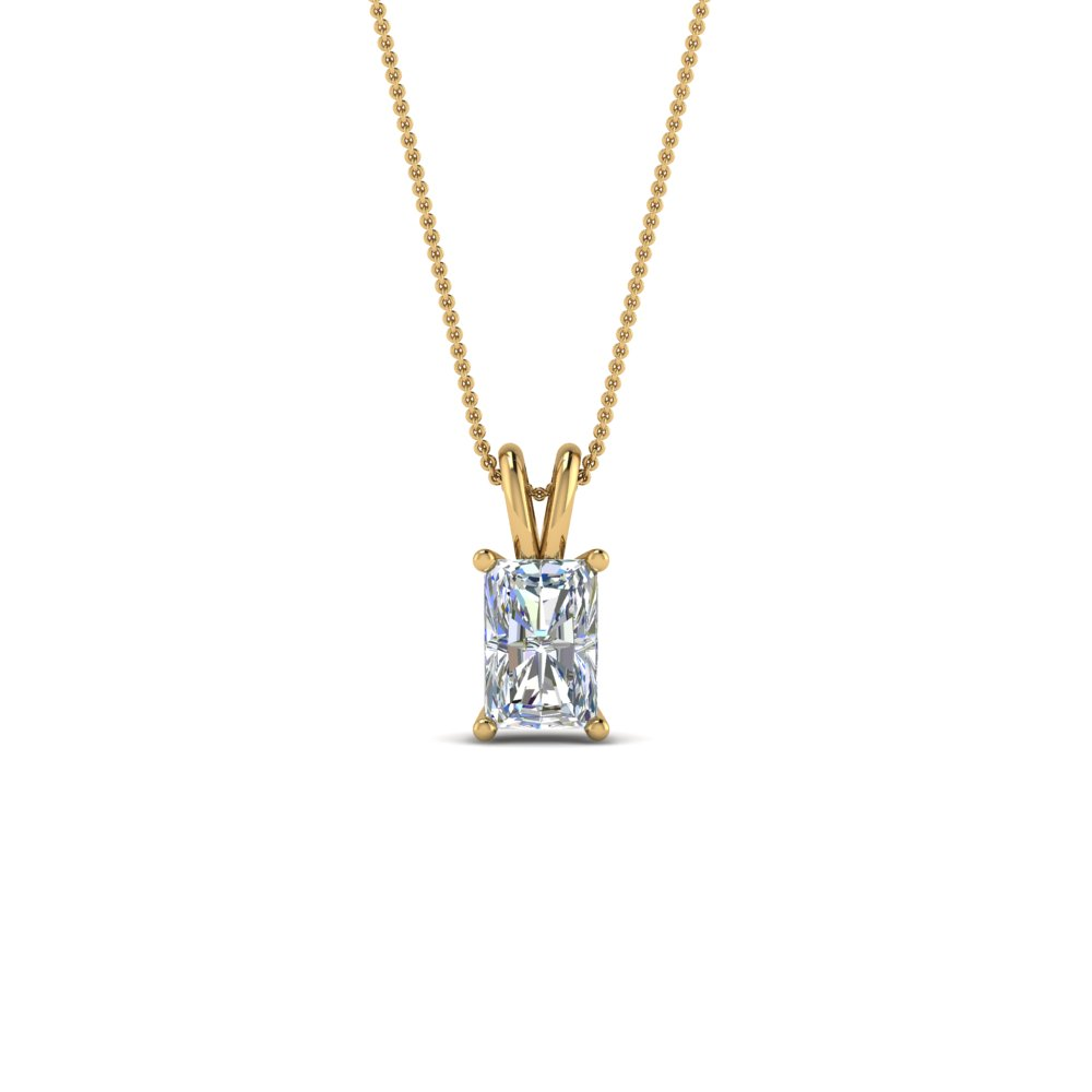 0.5 ct. diamond radiant solitaire necklace in FDPD8469RA0.50CTANGLE2 NL YG
