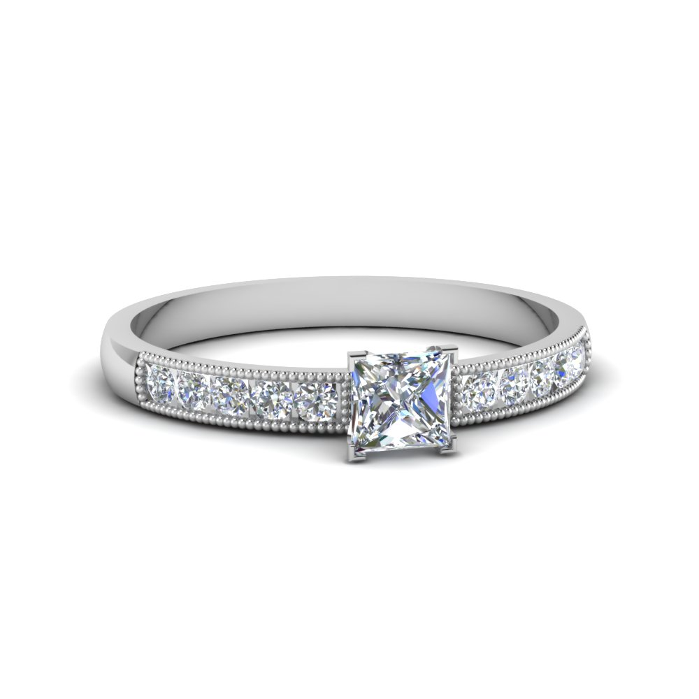 Princess Cut  Milgrain Engagement Ring