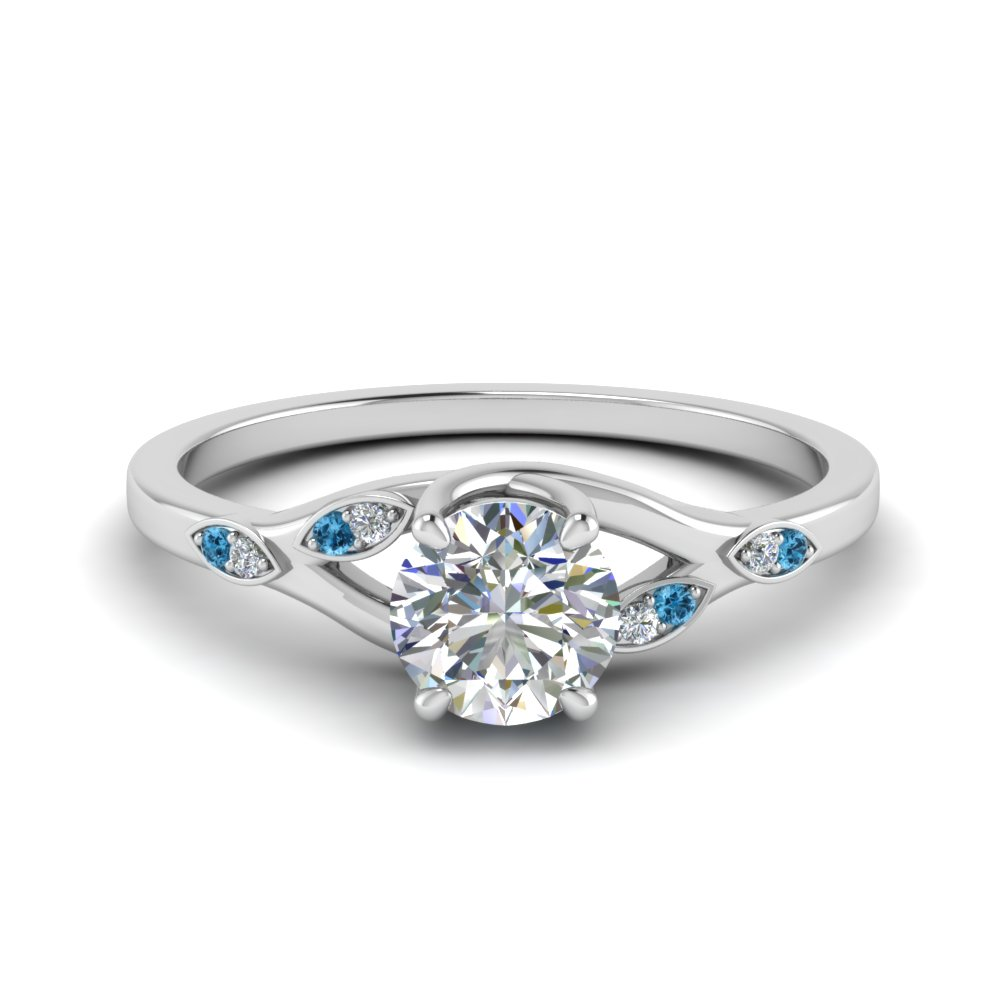0.50 ct. diamond branch petite engagement ring with blue topaz in FD8603RORGICBLTO NL WG