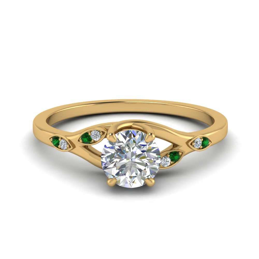 0.50 ct. diamond branch petite engagement ring with emerald in FD8603RORGEMGR NL YG