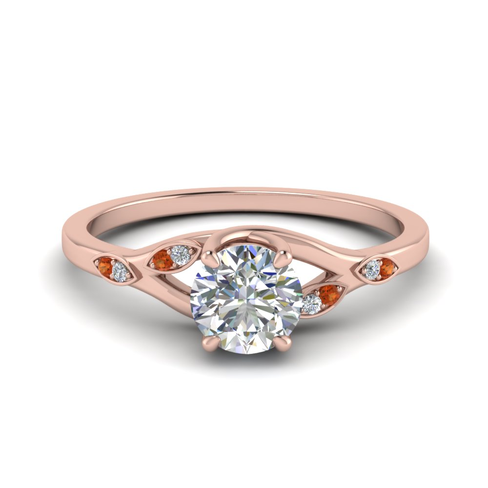 0.50 ct. diamond branch petite engagement ring with orange sapphire in FD8603RORGSAOR NL RG