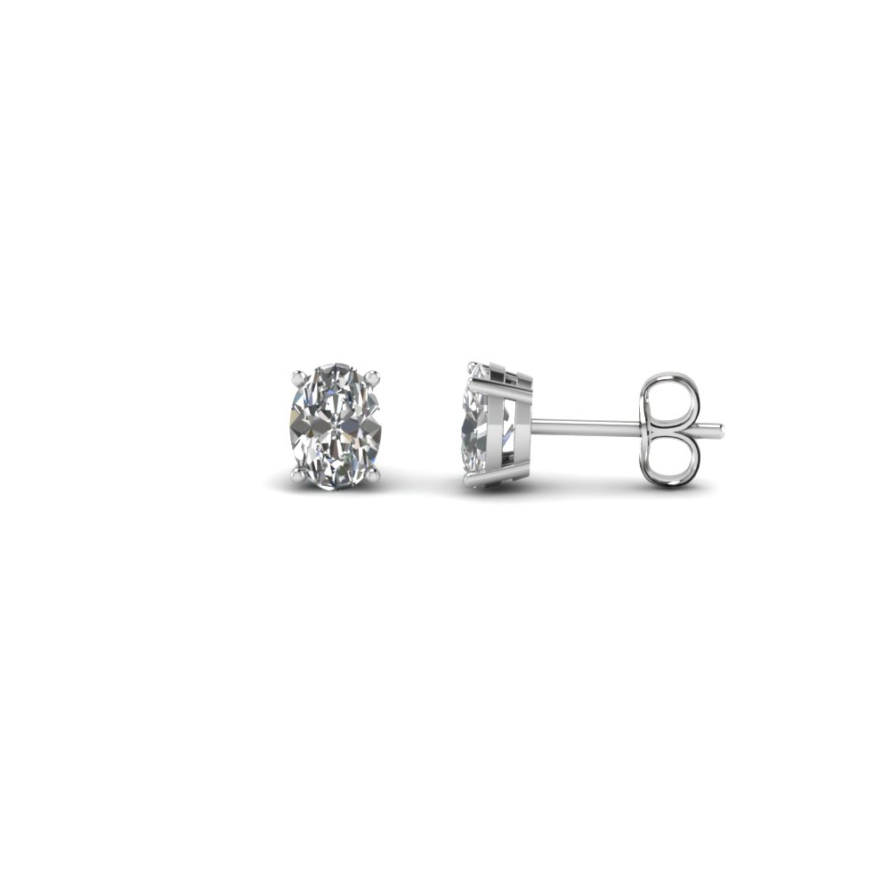 0.50 Ct. Oval Shaped Diamond Stud Earring