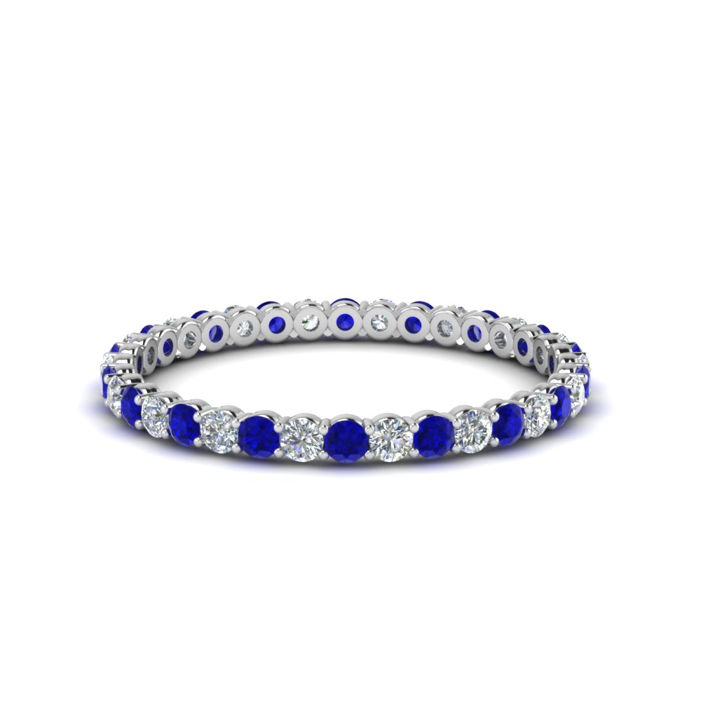0.50 ct. round diamond shared prong eternity ring with sapphire in 14K white gold FDEWB8387 0.50CTBGSABL NL WG