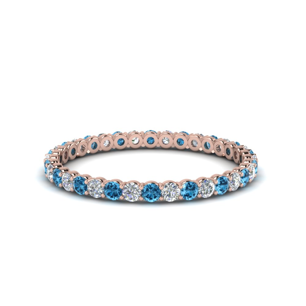 0.50 ct. round diamond shared prong eternity ring with blue topaz in 14K rose gold FDEWB8387 0.50CTBGICBLTO NL RG