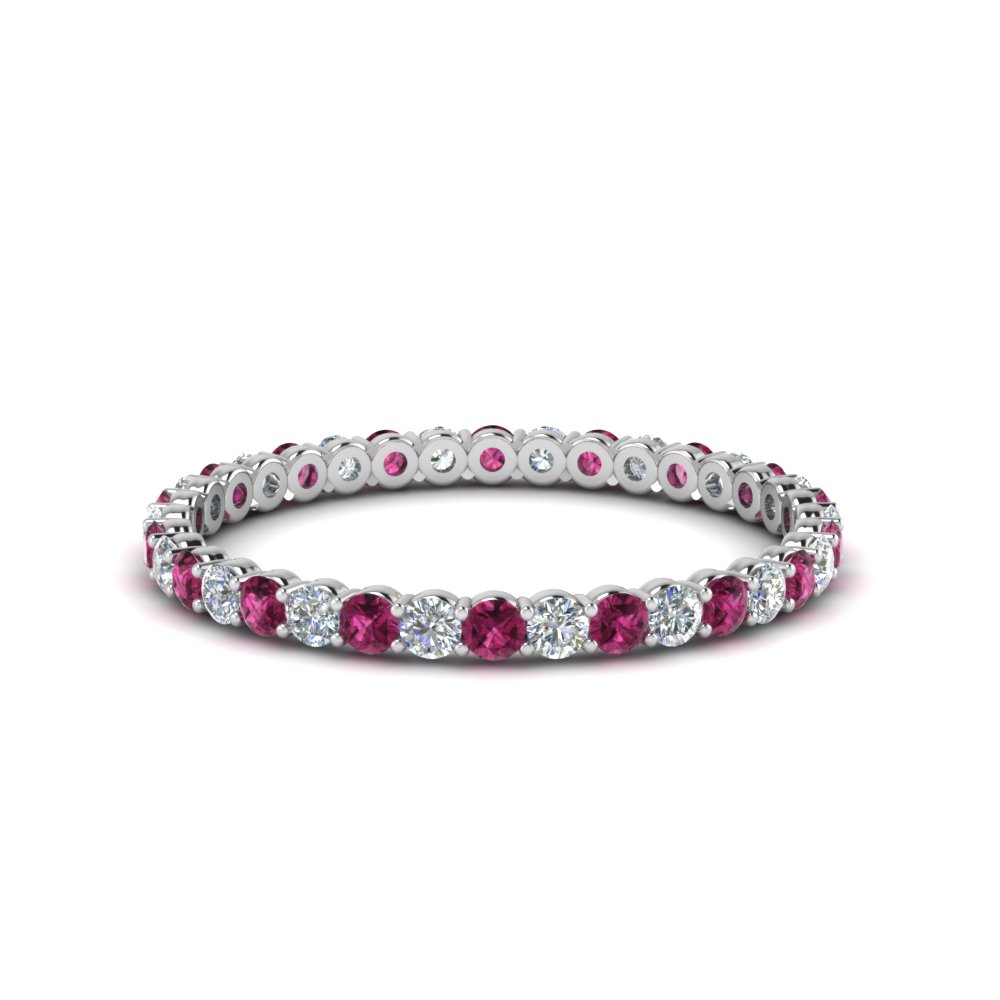 0.50 ct. round diamond shared prong eternity ring with pink sapphire in 950 Platinum FDEWB8387 0.50CTBGSADRPI NL WG