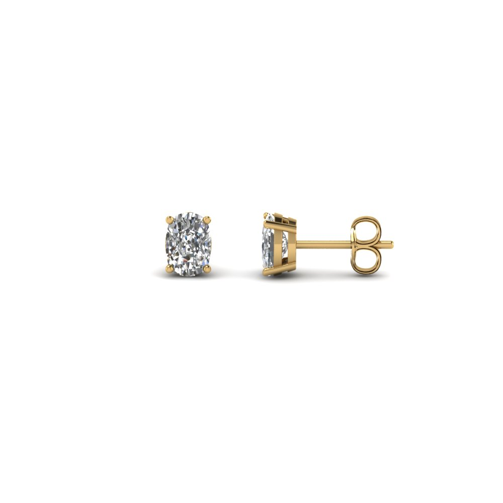 0.50 carat cushion diamond stud earring in FDEAR4CU0.25CT NL YG