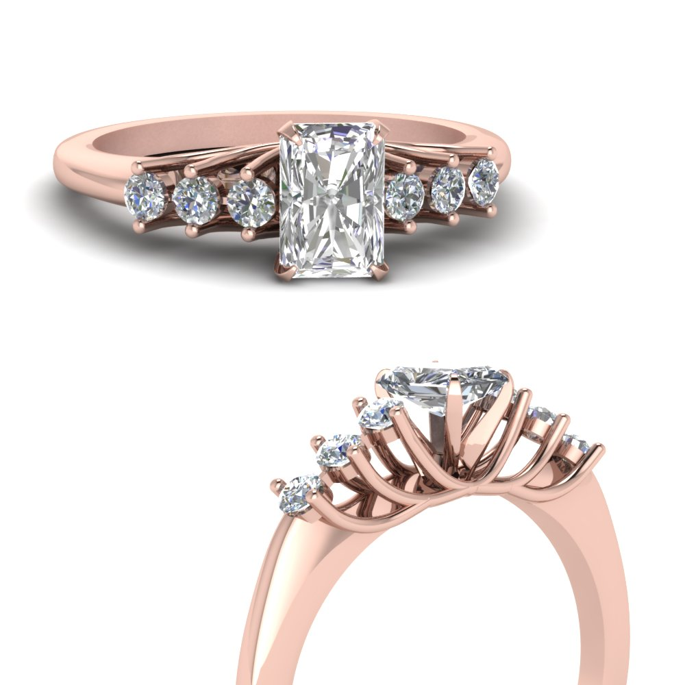 0.50 carat diamond floating radiant cut engagement ring in 14K rose gold FDENR7719RARANGLE3 NL RG