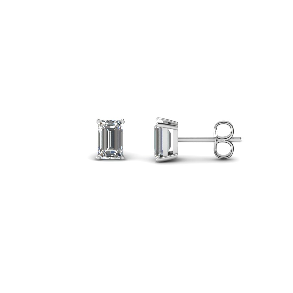 0.50 Carat Emerald Cut Diamond Stud Earring