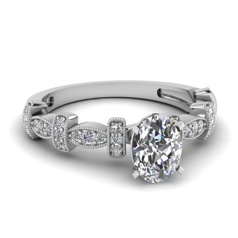 0.50 carat oval diamond milgrain pave engagement ring in FDENS3029OVR NL WG.jpg